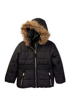 Hooded Faux Fur Trim Elastic Waistband Puffer Jacket (Big Girls)