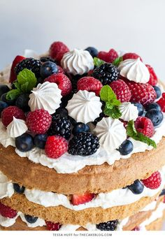 Eton Mess Cake - Inspired by the classic dessert, this cake combines crisp meringues, sweetened cream, fresh berries - layered between an airy sponge cake. No Bake Desserts, Just Desserts, Delicious Desserts, Health Desserts, Cake Recipes, Baking Recipes, Dessert Recipes, Best Fruit Cake Recipe, Pastry Recipes