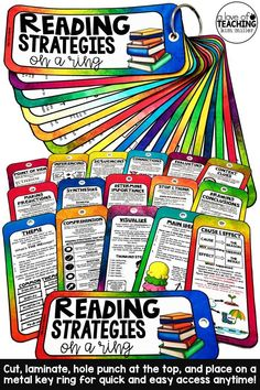 These Reading Strategies Reference Guides are perfect for reading centers, literacy tables, small group work, guided reading, or simply for a quick reference. Laminate, hole punch at the top and put on a metal key ring for fast and easy access to reading strategies and examples - anytime!