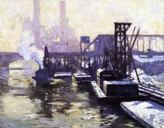 """Winter Industrial Landscape on the Chicago River,"" Alson Skinner Clark, 1906, oil on canvas, 26 x 32"", private collection."