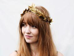 Gold Leaf Headband. Gold Leaf Crown, Toga Headpiece, Greek, Gold Crown, Greek Wedding, Greek Goddess, Hair Wreath, Gold Leaves, Crown by BloomDesignStudio on Etsy https://www.etsy.com/listing/183420711/gold-leaf-headband-gold-leaf-crown-toga