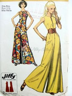 1970s Wide Leg Jumpsuit Pattern Front Zip Easy To Sew Jiffy Simplicity 9370 Bust 32.5