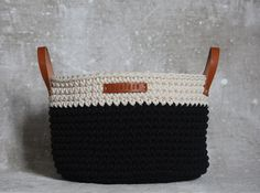 Handmade Crochet  Cotton Basket in cream/ black by regreenyourlife