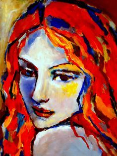 Reverie by Helena Wierzbicki : Contemporary Fine ArtColorful Expressionist Portrait of a womanAcrylic on canvas - cm inches Abstract Portrait, Portrait Art, Abstract Art, Portrait Acrylic, Illustration Mode, Illustrations, Fauvism Art, Henri Matisse, Face Art