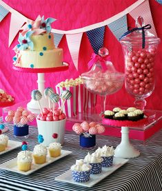 Pinwheels and Polka Dots Party Dessert Table from @Kelly Teske Goldsworthy {The Party Dress + WH Hostess} - gorgeous!