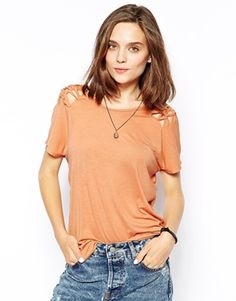 RVCA Short Sleeve Top With Cut Out Shoulder Detail