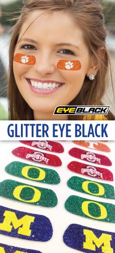 Our glitter eyeblack comes customized for all MLB teams, the 75 most popular colleges, & in 12 dazzling colors. Buy eye black for softball, cheer, & more! All Mlb Teams, Softball, Baseball, Lacrosse, School Spirit Days, Go Blue, Down South, Ohio State Buckeyes, College Life