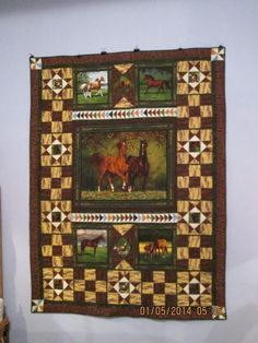 caterpillar fabric panel quilt ideas | You have to see Horse Panel Quilt on Craftsy!