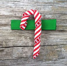 Candy Cane Ribbon Sculpture Hair Clip - Christmas Hair Clips - Holiday Hair Bows - Toddler Hair Bows... Free Shipping Promo. $3.25, via Etsy.