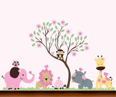 Girls Pink Big Nursery Jungle Curvy Tall Tree and by WhimsyWallArt, $129.00