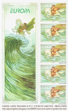 Oisín, son of Finn Mac Cumhaill, riding off across the waves to Tir na n'Og, with Níamh Chinn Óir / Niamh of the Golden Hair.  © P.J. LYNCH (Artist. Ireland) from his book 'The Names Upon the Harp' (which is excellent -pfb). ... Irish Legends postage stamps for An Post, the Irish Postal Service ...  More on the legend: http://en.wikipedia.org/wiki/Ois%C3%ADn