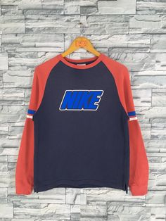 cheap for discount 961fd 01b7c Vintage 90s NIKE Swoosh Sweatshirt Ladies Large Nike Sportswear Streetwear  Nike Air Crewneck Sweater Nike Blue Red Raglan Jumper Size L