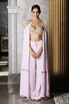 bisouNYC - Lavender Bustier with Cape and Pants Dress Indian Style, Indian Dresses, Pakistani Cape Dresses, Indian Wedding Outfits, Indian Outfits, India Fashion, Ethnic Fashion, Indian Attire, Indian Wear