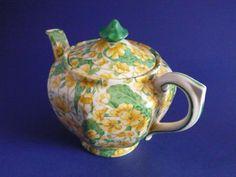 Pretty Crown Ducal 'Primula' Chintz Teapot c1928