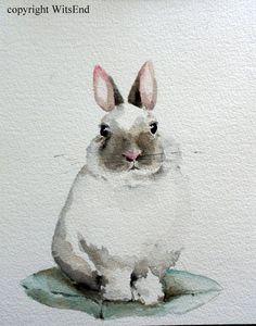 Bunny Rabbit painting original nursery watercolor art decor Bunny on pillow cushion