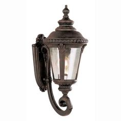 Bel Air Lighting Breeze Way 1-Light Outdoor Rust Coach Lantern with Seeded Glass-5040 RT - The Home Depot