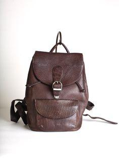 Brown leather backpack leather ruck sack Eddie by thisvintagething