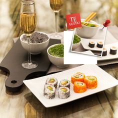 que rico qe es el sushi Sushi, Place Card Holders, Spaces, Amazing, Ideas, Ideal House, Flower, Environment, Dishes