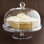 Covered Pie Stand from Sur La Table.  $59.95 at Sur La Table, seems like a lot but big enough to cover a whole pie.