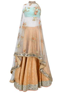 Orange handwoven brocade lehenga with blue bustier and floral work cape available only at Pernia's Pop Up Shop.