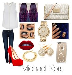 """""""🎀❤️💜"""" by jazzy0725 ❤ liked on Polyvore featuring MICHAEL Michael Kors, Anine Bing, Jessica Simpson, Kenneth Jay Lane, Loushelou and Casetify"""