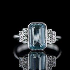 Art Deco Ring- Aquamarine with Diamonds via Lang Antique & Estate Jewelry