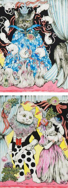 【五】ヒグチユウコ 『T.S.Eliot「Cats」より』 ... - ヤフオク! Pretty Pictures, Cat Art, Storytelling, Alice In Wonderland, Coasters, Cats, Cute Pics, Beautiful Pictures