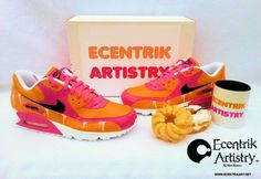 ECENTRIK ARTISTY's take on some custom Donut sneakers. These Nike Air Max 90 Coffee & Donuts Customs are clones of the Dunkin Donuts branding!