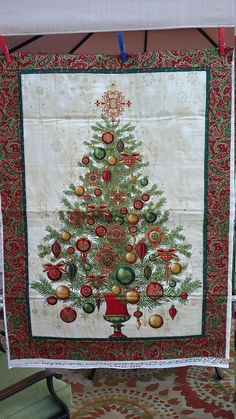 Traditional red and green Christmas tree quilt MADE to ORDER