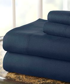Look what I found on #zulily! Navy Microfiber Sheet Set by Colonial Home Textiles #zulilyfinds