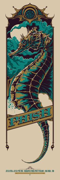 The work of Ken Talor: Phish Gig Poster. I think this is a beautiful poster. I think the title of the band is rendered beautifully.