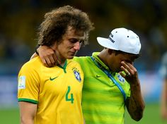 David Luiz and Thiago Silva after Brazil's horrific loss to Germany in the 2014 World Cup