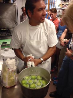 Day One of our exciting Culture & Cuisine Tour began with Chef Martin Rios making masa dumplings with tomatillo mole and blistered corn...yum!