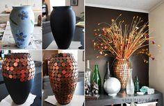 Dann hebt euch doch ein paar Centstücke auf und baut euch diese coole Vase. Einfach mit matt-schwarzem Lack besprühen und mit Heißkleber die Centstücke draufkleben. Fertig! :) (gesehen auf voneinspired.com)
