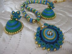 Peacock combo - Quilled Earrings Set