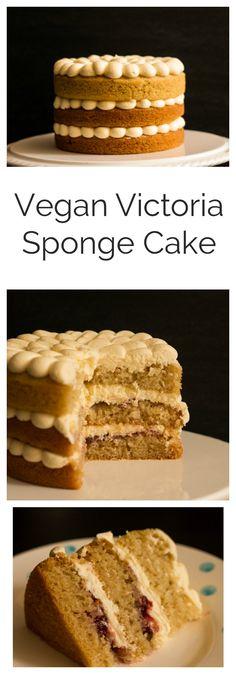 Vegan Victoria Sponge Cake | A delicious light vegan vanilla sponge, layered with raspberry jam and creamy vanilla buttercream frosting