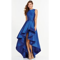 Alyce 6826 After Prom High-Low High Neckline Sleeveless (€235) ❤ liked on Polyvore featuring dresses, gowns, formal dresses, sapphire, high low prom dresses, blue dress, prom dresses, prom ball gowns and blue prom dresses