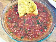 This is the quickest, easiest, most delicious Restaurant Style Salsa I've ever made! Bar none. I saw this on Pinterest and immediately knew I had to try it! Soooooo GOOD! My instinct was right on this one….so I HAD to share it with you! :-)   Quick and Easy Blender Salsa Thanks to:  MountainMamaCooks.com Ingredients: 1- 14 oz can diced tomatoes …