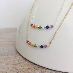 #Multi #Gemstone 7 #Chakra #Necklace Chakra #Balancing #Yoga #7 #sevenchakras #seven #yogi #summer #colorful #dainty #delicate #gold #silver #sterlingsilver #14Kgold #goldfilled #semiprecious #gems #jewelry #womens