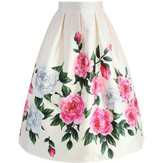 Chicwish Retro Felicitous Peony Printed Midi Skirt ($42) ❤ liked on Polyvore featuring skirts, white, white knee length skirt, box pleat skirt, calf length skirts, mid calf skirts and white skirt