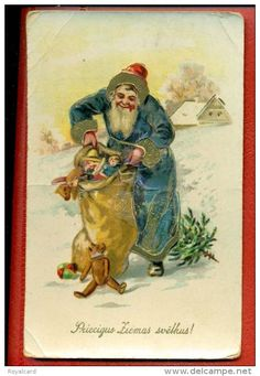 Blue Santa - Vintage Christmas postcard - Latvian Father Christmas figure in blue robe and red, fur-lined cap, toys spilling out of brown sack  Source: Royalcard @ Delcampe