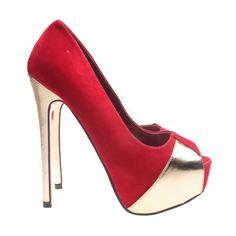 Pantofi decupati cu toc inalt de culoare rosie cu auriu Stiletto Heels, Platform, Shoes, Fashion, Moda, Zapatos, Shoes Outlet, Fashion Styles, Shoe