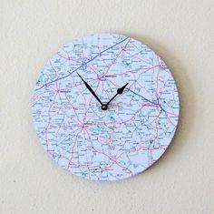 Modern Wall Clock,  Decor and Housewares, Map Clock, Home and Living, Home Decor, Unique Clock, Unique Gift