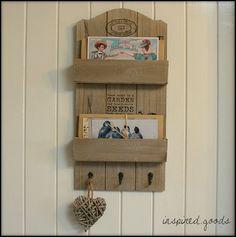 Vintage Wooden Wall Organiser - Letter Rack & Keys Hooks