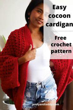 Crochet Cardigan Pattern, Easy Crochet Patterns, Crochet Cocoon, Free Crochet, Crochet Shawls And Wraps, Crochet Shrugs, Crochet Stitches For Beginners, Crochet Clothes, Crochet Outfits