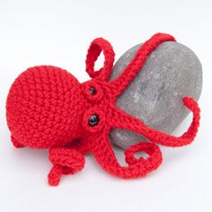 Amigurumi Baby Kraken Plush Octopus - Red