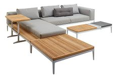 GRID SOFA - Designer Sofas from Gloster Furniture GmbH ✓ all information ✓ high-resolution images ✓ CADs ✓ catalogues ✓ contact information ✓. Wood Patio Furniture, Modular Furniture, Modern Furniture, Furniture Design, Furniture Movers, Sofa Design, Outdoor Sofa, Balcony Chairs, Living Room Seating