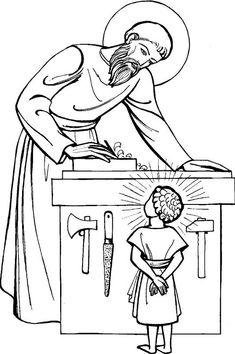 St. Joseph Coloring Page for Kids to Colour. Coloriage Saint Joseph menuisier