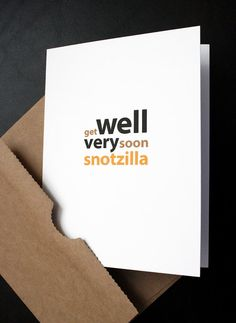 Get Well Card — Snotzilla — Humorous Get Well Card for Him, Her, Friend, Husband, Wife, Son, Daughter, Girlfriend, Boyfriend — by allotria on Etsy