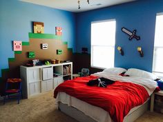 Explore the designs of Minecraft Bedroom Ideas at The Architecture Designs. Visit for more ideas of Minecraft themed bedroom ideas. Bedroom Murals, Bedroom Layouts, Bedroom Themes, Bedroom Bed, Bedroom Decor, Bedroom Ideas, Bedroom Wallpaper, Bedroom Designs, Minecraft Bedding